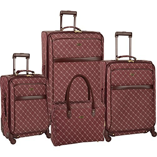 Travel Gear Signature 4 Piece Expandable Spinner Luggage Set (28In/24In/20In/26In), Burgundy/White by Travel Gear