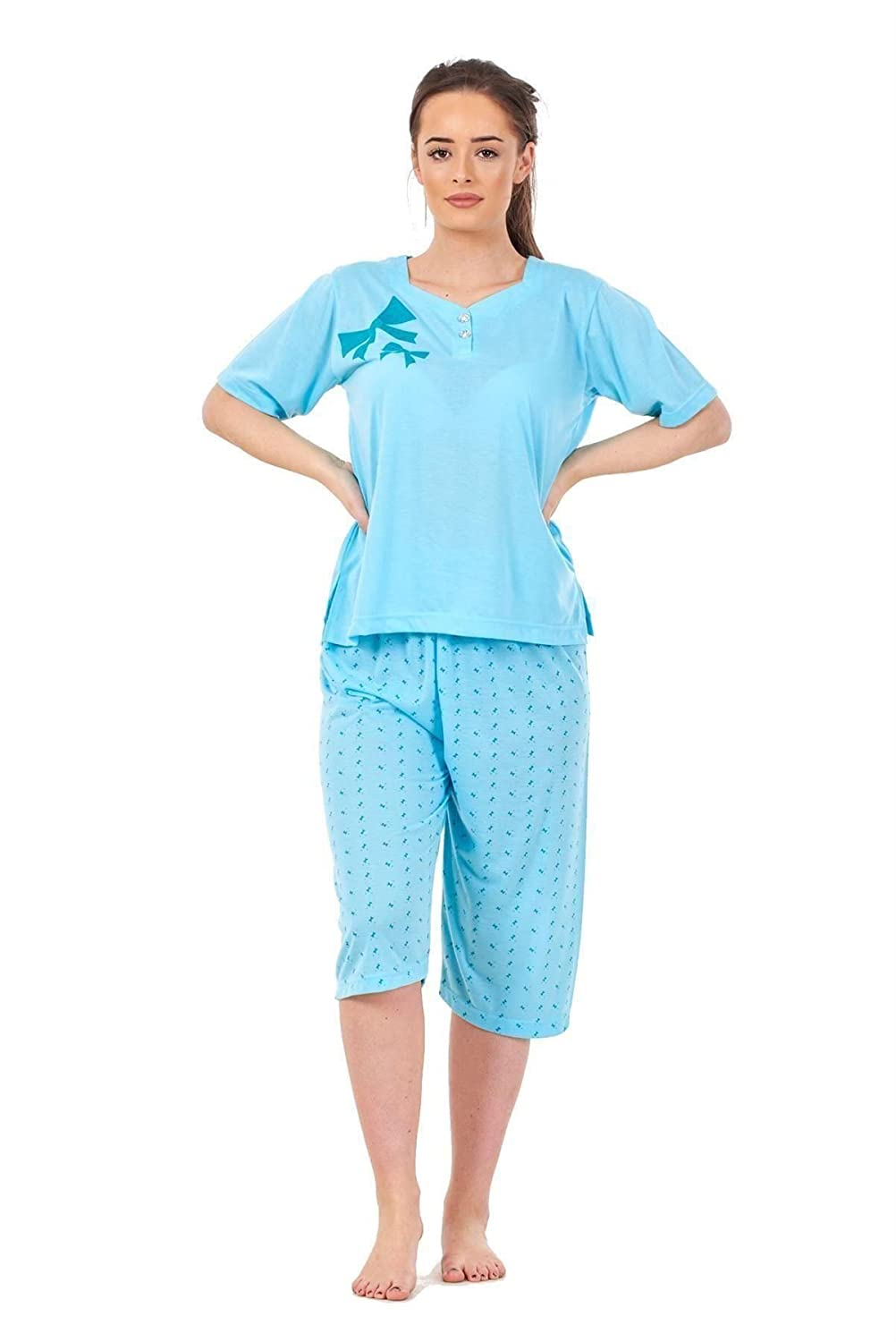 Ladies Pyjama Set 3/4 Length Bow Print Short Sleeve V Neck Cotton Soft Nightwear Does not Apply