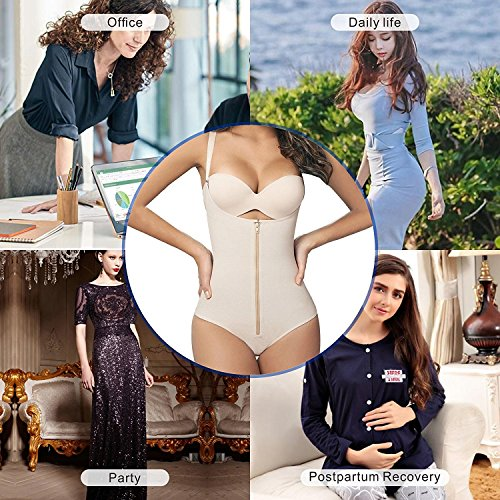 9fb0bb9161 SHAPERX Camellias Womens Faja Seamless Firm Control Shapewear Zipper  Closure Open Bust Bodysuit Body Shaper Slimmer ...