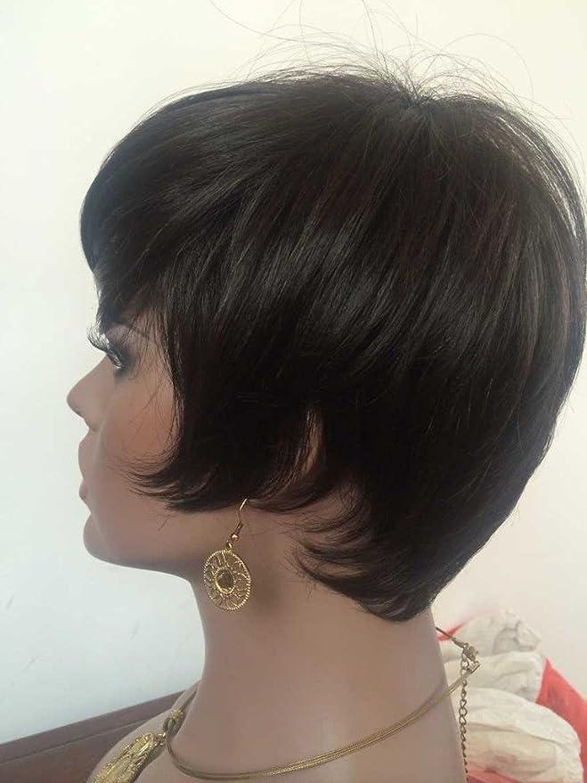WOB pelo Rihanna estilo ninguno encaje peluca cabello humano 150% densidad tablón negro corto peluca con Bang: Amazon.es: Belleza