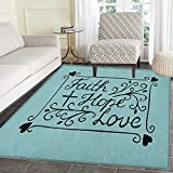 Hope Area Rug Carpet Hand Lettering Spiritual Faith Hope Love Quote with Floral Arrangement Hearts Living Dining Room Bedroom Hallway Office Carpet 4'x5' Pale Blue and Black