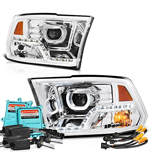 Vipmotoz Led Strip Drl Halo Ring Chrome Projector Headlight Lamp Assembly For 2009 2018 Dodge Ram 1500 2500 3500 Pickup Truck Built In 55 Watts Xenon Hid Low Beam Bulbs Driver Passenger Side