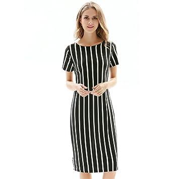 Cuello redondo de verano mujer adelgaza Elástica Rayas vestidos de manga corta ,negro,s