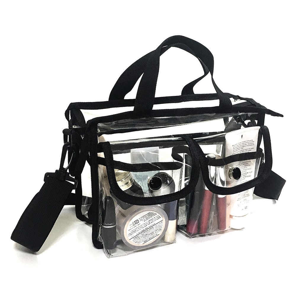 Clear pvc cosmetic bags with removable and adjustable shoulder strap GYM-001