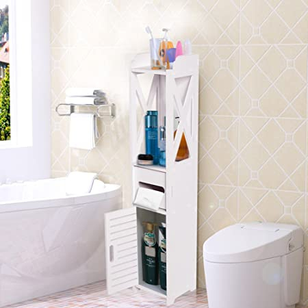 Salle de bain/chambre à coucher, armoires, unité fin de salle de bain wc  meubles Armoire Bois Blanc Fin étagère Placard Tissue de rack de stockage  ...