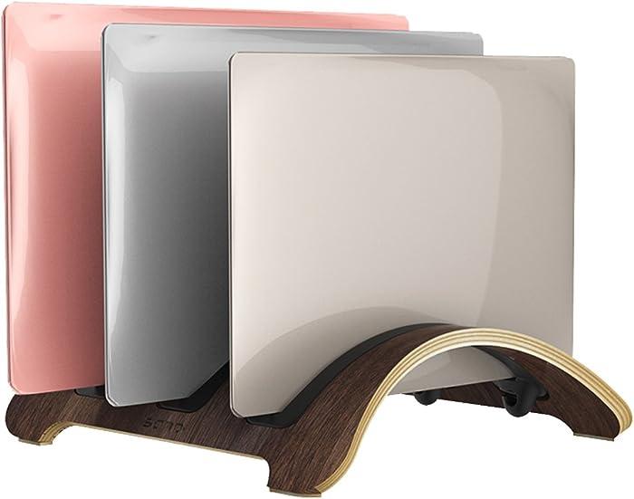 Vertical Laptop Stand,3 Slots More Space-saving | SAMDI Wooden desktop Holder for Macbook Air,Macbook Pro,Notebooks (Black Walnut)
