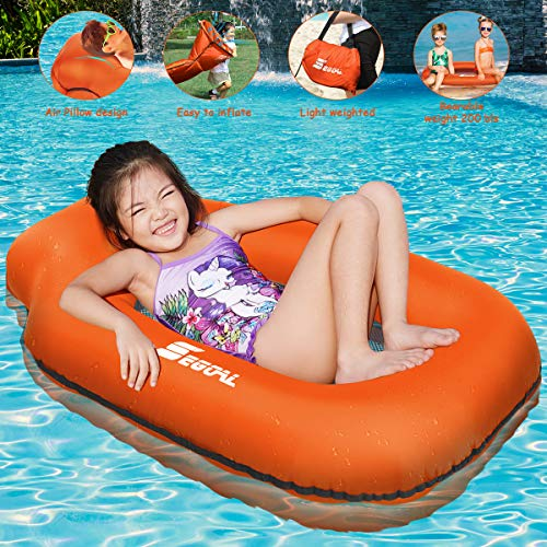 2020 Inflatable Pool Float Portable Floating Lounger Chair Water Hammock Raft Swimming Ring for Kids, Lightweight Durable Premium Single Layer Nylon Material No Pump Required, 1 Second Filling the Air