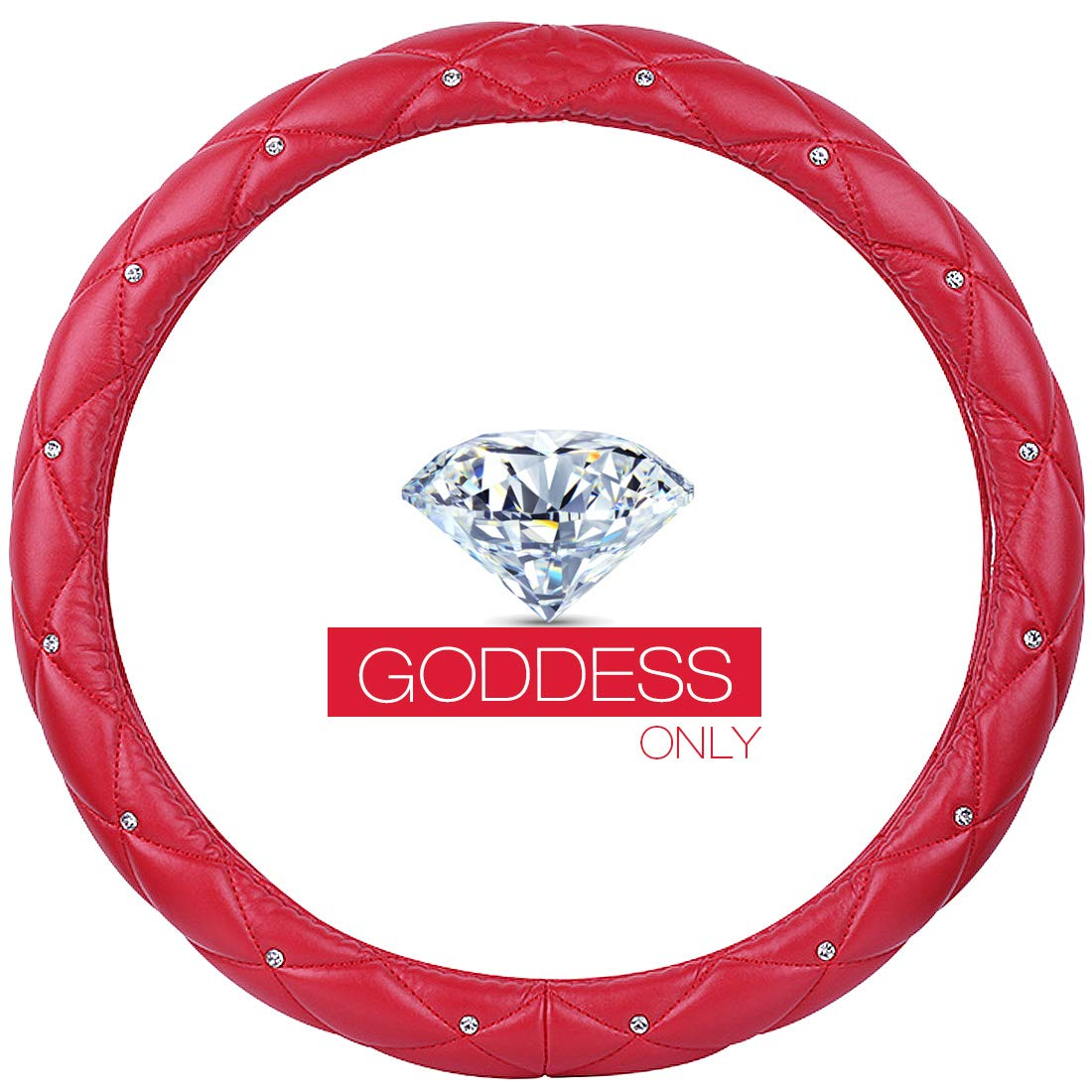 Elegant Collection Accessories Universal 15//38cm Soft Leather Auto Stylish A - Red/&Black Queens Car Steering Wheel Cover with Noble Crown Bling Diamond QUEEN ONLY