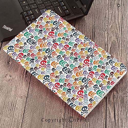 Case for Samsung Galaxy T820 T825 Slim Folding Stand Cover PU Tab S3 9.7,Skulls Decorations,Halloween Theme Colorful Skulls and Crossbones,]()