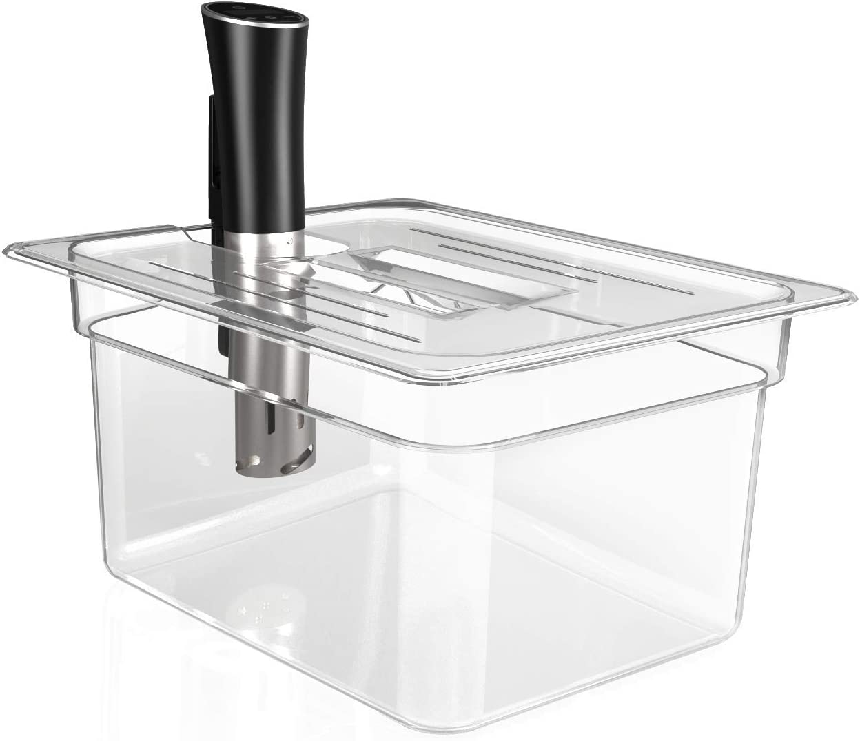 Sandoo Sous Vide Container 12 Quart with Lid-Sous Vide Accessories Kit with Lid for Most Sous Vide Cookers, Long Service Life with PC material, HK0400