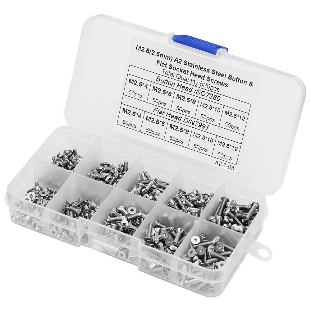 500pcs 1 bo/îte Jeu de vis /à six pans creux de haute qualit/é M2.5x4 M2.5x6 M2.5x8 M2.5x10 M2.5x12 bouton//t/ête plate Jeu de vis /à six pans creux pour la maison industrielle