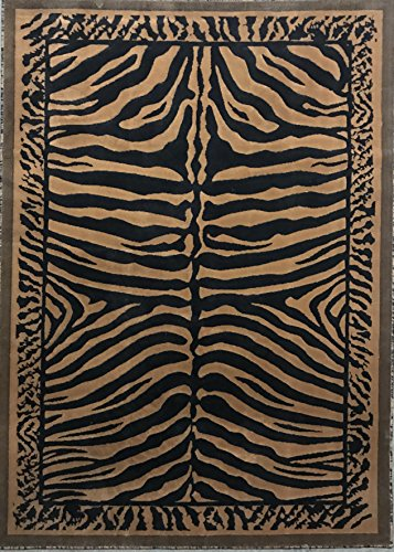 Kingdom Zebra Skin Print Area Rug Black & Gold Design D142 (5 feet x 7 ()