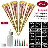 COKOHAPPY Temporary Tattoo Kit, 4 Tube Brown Paste Cone Indian Body Art Painting Drawing with 24 x adhesive Stencil, 1 x Applicator Bottle and 5 x Plastic Nozzle
