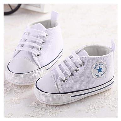 FidgetKute Zapatos Comodos Zapatitos de Bebe Baby Niña Niño Zapatillas de Recien Nacido Blanco 0-