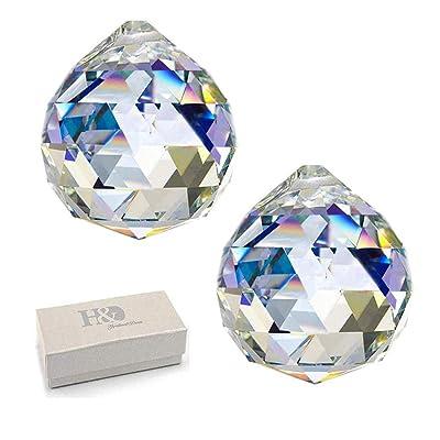 "H&D Glass Crystal Prism Ball Pendant Suncatcher Rainbow Maker Hanging Crystal Ball Prism Pendants for Windows, 2""/50mm, Pack of 2 : Garden & Outdoor"