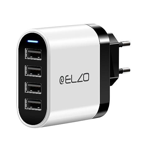 ELZO Cargador USB de Pared con 4 Puertos, 32W, 6,4A con Corriente Máxima de 2,4A, Universal Cargador Móvil USB iSmart 2.0, Blanco & Negro