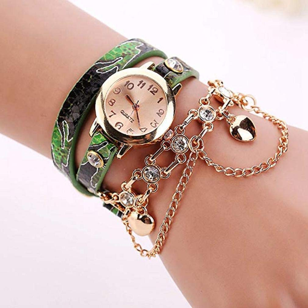 Noopvan Rhinestone Bracelet Watch Women Analog Leather Lady Watches Female watches-H68 (Green) - - Amazon.com