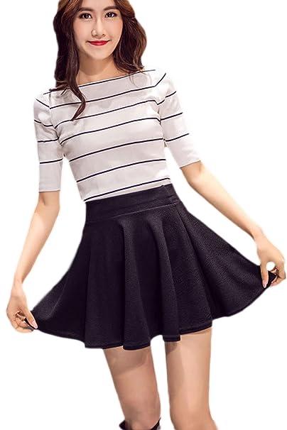 c990dbfbd Suvotimo Women Summer Pleated Solid Mini Skirts Plus Size: Amazon.co.uk:  Clothing