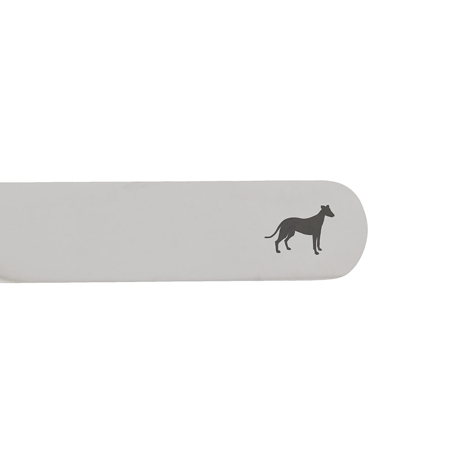 Made In USA 2.5 Inch Metal Collar Stiffeners MODERN GOODS SHOP Stainless Steel Collar Stays With Laser Engraved Whippet Design
