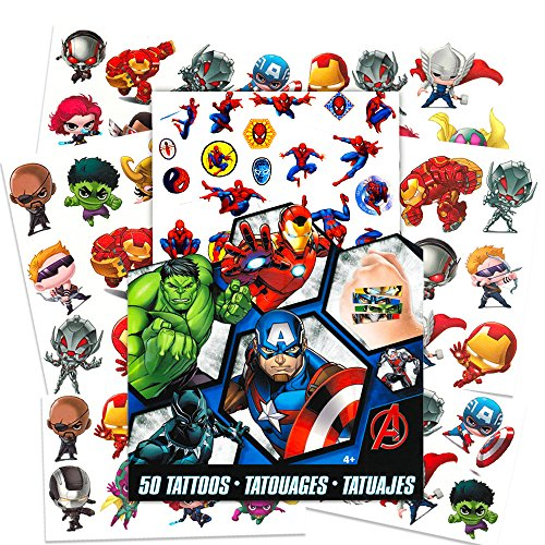 Marvel AVENGERS Temporary Tattoos - 50 Tattoos - Iron Man, Thor, Hulk, Captain America and more! by Savvi]()