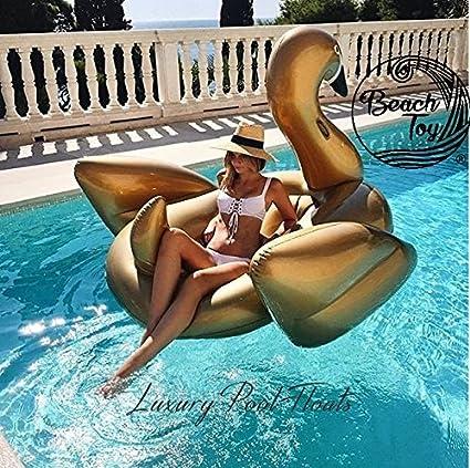 Beach Toy ® - Flotador gigante para piscina de Cisne Dorado, para adultos y niños, 2-3 personas, tamaño XXL: 175 x 170 x 130 cm, entrega ultra rapida: ...
