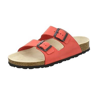 AFS-Schuhe 2122, Modische Damen-Pantoletten, Bequeme Hausschuhe Größe 38 Rot (Beere)