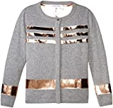 Little Marc Jacobs Girls' Knitted Cardigan with Leather Effect Stripes, Gris Chine, 10A