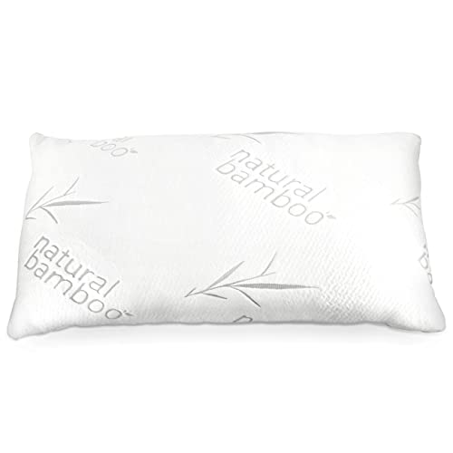 Zen Bamboo Shredded Memory Foam Pillow - Premium CertiPUR-US Memory Foam Pillow with Adjustable Loft and Washable Bamboo Cover - Queen