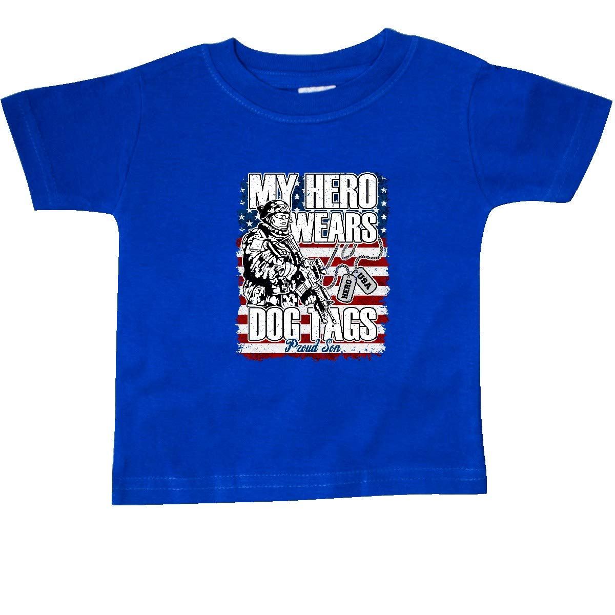 inktastic Proud Son Hero Wears Dog Tags Military Dad Baby T-Shirt