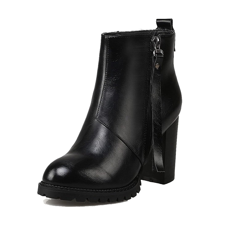 AmooTa Women's Pu Solid Zipper Round Closed Toe High Heels Boots