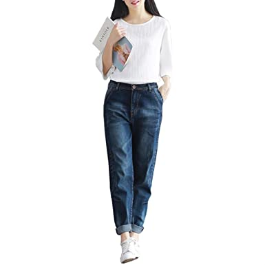 663f2534fd7 BF Harem Women Casual Plus Size Loose Fit Vintage Jeans High Waist ...