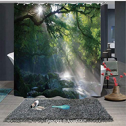AngelDOU Rainforest Decorations Polyester Waterproof Shower Curtain Stream in The Jungle Stones Under Shadows of Trees Sunlight Mother Earth Theme for Bathroom Decoration with Free Hooks]()