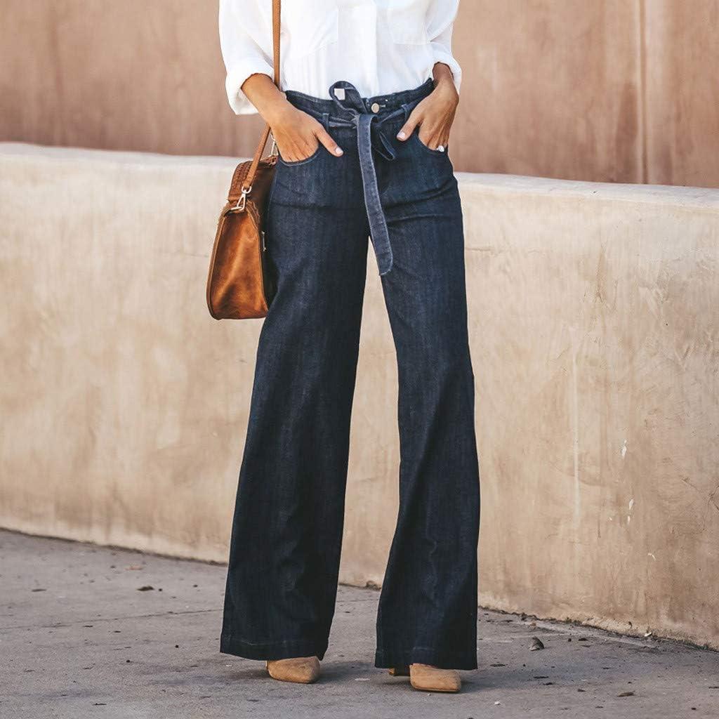 Mujer Vaqueros Acampanados Pantalones Largos El/áStico Cintura Alta Retro Flared Jeans Cintura Alta Pajarita Ojal Dril Algod/óN Pantalones Anchos Pierna Longitud