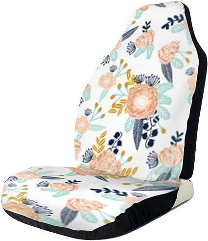 Amazon Com Florals Peach Navy Blue Universal Bucket Seat Covers