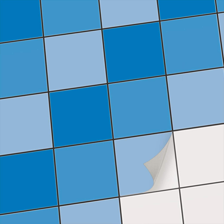 Feuille adhé sive dé corative Carreau | Tatouage mosaï que Mural - Stickers carrelage adhesif Mural Salle de Bains et Cuisine | Stickers carrelage - Design Tons Bleus - 10x10 cm - 9 piè ces creatisto GmbH