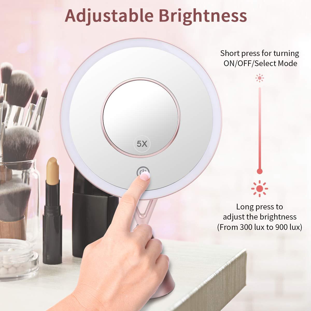 morpilot Kosmetikspiegel mit LED Beleuchtung, 5 Facher Vergrößerung mit Licht Schminkspiegel beweglich und 45° schwenkbar Kosmetik Mirror Batterie-Betrieb Via Touch-Screen Kosmetikspiegel