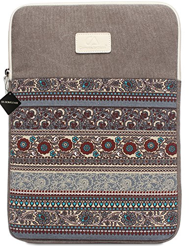 BLOOMSTAR 15 Inch Bohemian Canvas Protective Laptop Sleeve Bag Notebook Case Cover for MacBook, Chromebook, Acer, Dell, HP, Samsung, Sony (Vertical, Gray)