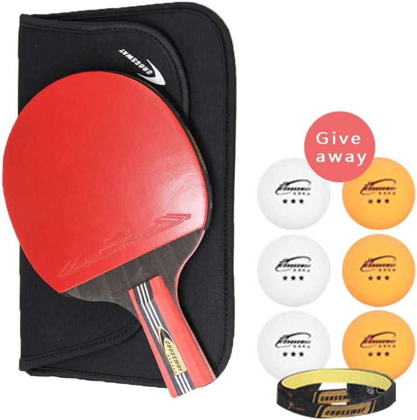 QYWJ Set de Raquetas de Ping-Pong, Raquetas de Tenis de Mesa con 6 Pelotas y Bolsa de Transporte y protección de Bordes, Ideal para Principiantes, familias y Profesionales