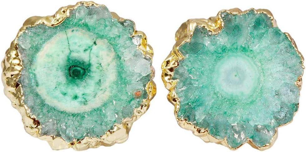 NICEWL Crystal Cluster Quartz Geode Druzy Stud Pendientes para Mujeres,Irregular Natural Ágata Piedras Preciosas Colgante,Geometría Hecha A Mano Vintage Niñas Oreja Joyería