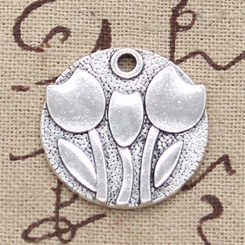 10pcs Charms Flower Tulips 25mm Antique Making Vintage Tibetan Silver Zinc Alloy Pendant