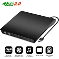 SPIN CART External DVD Drive USB 3.0 Portable CD DVD RW Drive Slim DVD/CD ROM Rewriter Burner Writer, High Speed Data Transfer for Laptop Desktop Windows 10/8/7 (Black)