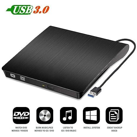 SPIN CART External DVD Drive USB 3.0 Portable CD DVD RW Drive Slim DVD/CD ROM Rewriter Burner Writer, High Speed Data Transfer for�