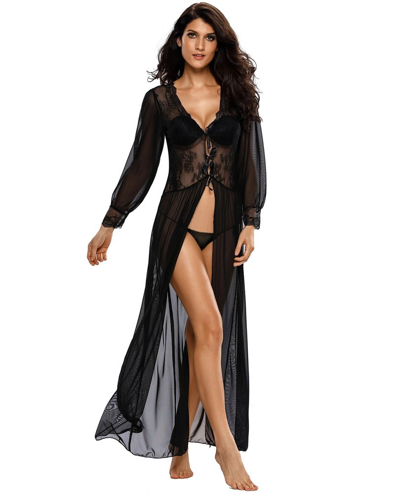 Romacci Women's Sexy Sheer Lace Long Robe Lingerie Underwear Sleepwear Gowns with Thong