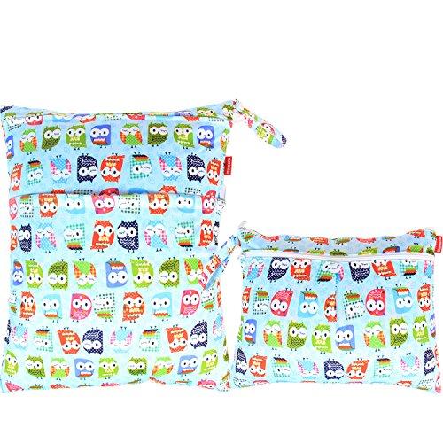 Damero 2pcs Pack Travel Baby Wet and Dry Cloth Diaper Organi