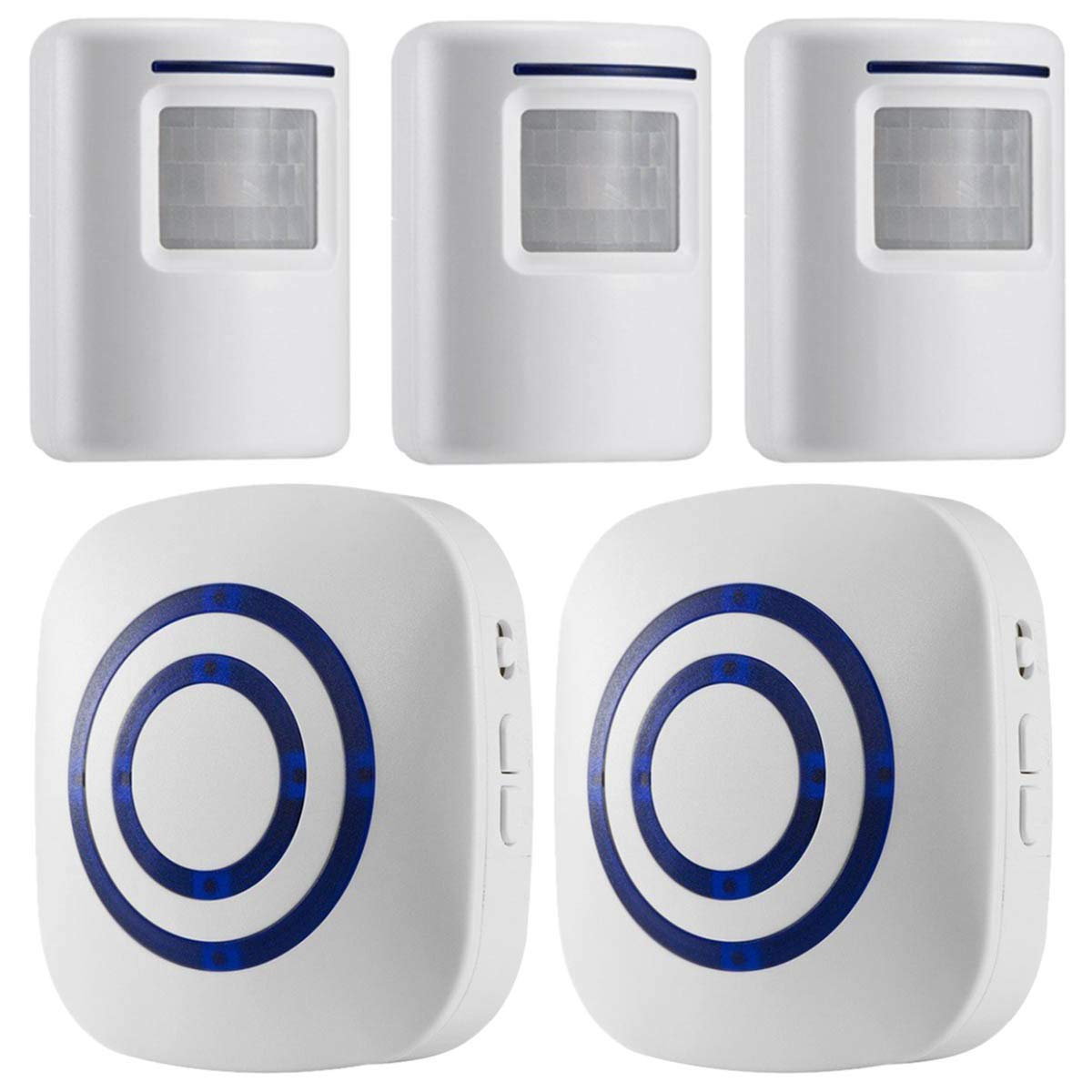 WJLING Motion Sensor Alarm, Wireless Driveway Alarm, Home Security Business Detect Alert with 3 Sensor and 2 Receiver,38 Chime Tunes - LED Indicators by WJLING