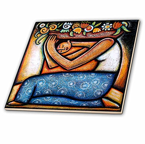 3dRose Flower Girl Mexican Art Colorful Ceramic Tile, 12-Inch ()