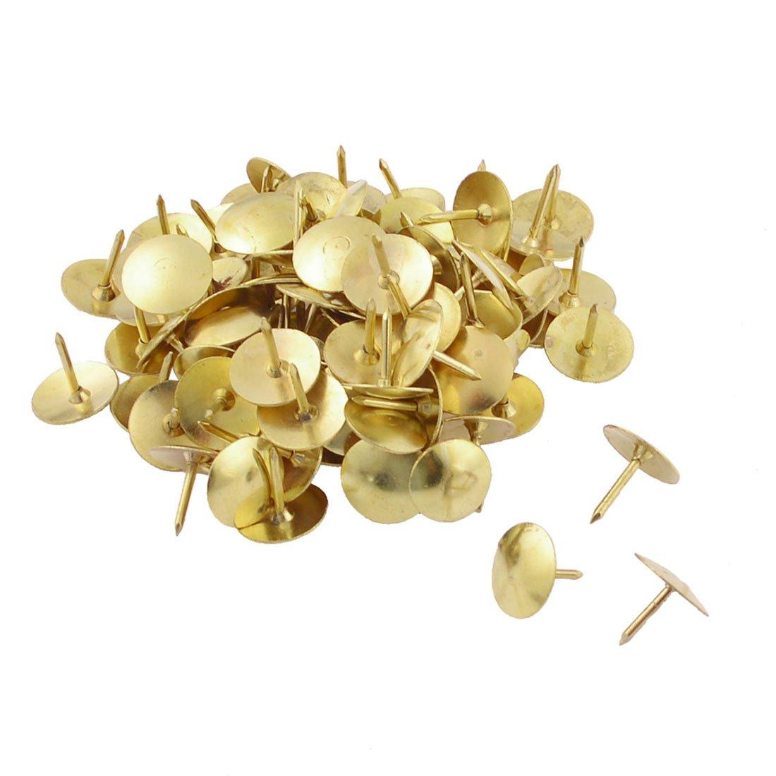 uxcell 100 Pcs Pack Office Gold Tone Thumbtacks Drawing Pins a13041200ux0084
