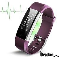 ITRACKER Fitness Tracker HR, reloj de seguimiento de actividad con monitor de frecuencia cardíaca, pulsera inteligente impermeable con contador de pasos, contador de calorías, podómetro, reloj para niños, mujeres y hombres (morado)
