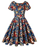 ROOSEY Women's 50s Retro Vintage Style Floral Cocktail Party Swing Dress