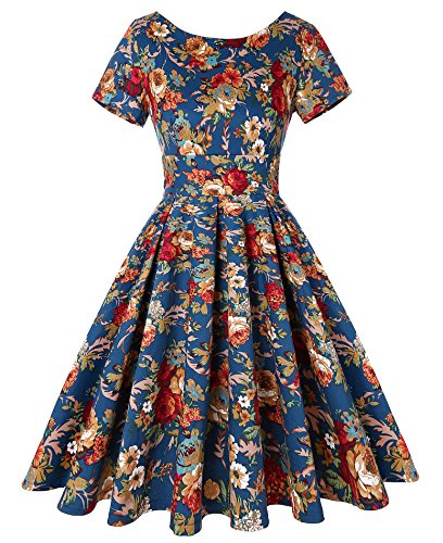 ROOSEY Women's 1950s Retro Vintage Short Sleeve Floral Party Swing Dress ()